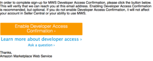 MWS Developer Access Confirmation